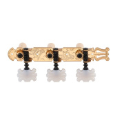 DJ313GK TENOR Classical Guitar Tuners, Tuning Key Pegs/Machine Heads for Classical or Flamenco Guitar with Gold Plated Finish and Pearl Coloured Butterfly Buttons.