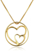"""Sterling Silver with Gold Flashed """"Mother and Daughters Are Joined In The Heart"""" Pendant Necklace, 46cm"""