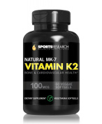 Vitamin K2 (MK7) 100mcg; Supports Calcium Absorption and Heart Health; Enhanced with Organic Coconut Oil for Better Absorption; Soy and GMO Free, 60 Vegetarian Capsules