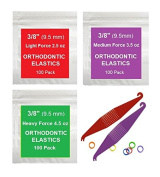 1cm inch Orthodontic Elastic Rubber Bands, 500 Pack, Natural, Light Force 70ml, Small Rubberbands for making bows, Dreadlocks, Dreads, Doll Hair, Braids, Horse Mane, Horse Tail, Fix Tooth Gap in teeth, Top Knots + FREE Elastic Placer for braces