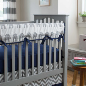 Navy and Grey Elephants Crib Rail Cover