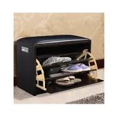 New Wood Shoe Storage Entryway Cabinet Bench Ottoman Closet Shelf Pu Leather Seat