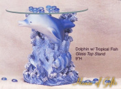 Dolphin w/ Tropical Fish Glass Top Stand 23cm h