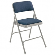 National Public Seating Folding Chairs - 2.5cm - 0.6cm Thick Fabric Seat - Double U-Brace - Blue Fabric/Grey Frame - Blue Fabric/Grey Frame - Lot of 4