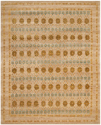 Safavieh Marrakech Collection MRK141A Hand-knotted Gold and Light Blue Wool Area Rug, 2.7m by 3.7m