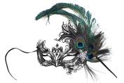 Veronica Laser-Cut Metal Black Venetian Women's Masquerade Mask w/Peacock Feathers