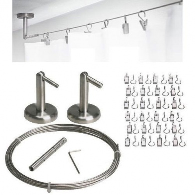 Curtain Wire Rod Set Stainless Steel, Multi-purpose, 5m Wire, 2 Mounting Pieces, 24 Clipss