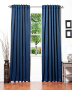 Best Home Fashion Thermal Insulated Blackout Curtains - Back Tab/ Rod Pocket - Navy - 130cm W x 210cm L -