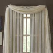 MONAGIFTS BEIGE IVORY CREAM OFF WHITE Scarf Voile Window Panel Solid sheer valance curtains 550cm LONG