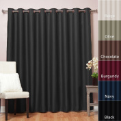 Best Home Fashion Wide Width Thermal Insulated Blackout Curtain - Antique Bronze Grommet Top - Black - 250cm W x 210cm L -