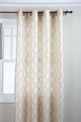 Stylemaster Hudson 140cm by 210cm Embroidered Faux Silk Grommet Panel, Vanilla