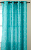 Stylemaster Hudson 140cm by 210cm Embroidered Faux Silk Grommet Panel, Turquoise