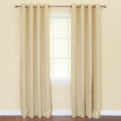 Best Home Fashion Thermal Insulated Blackout Curtains - Antique Bronze Grommet Top - Beige - 130cm W x 210cm L -