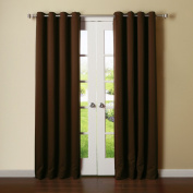 Best Home Fashion Thermal Insulated Blackout Curtains - Antique Bronze Grommet Top - Chocolate - 130cm W x 240cm L -