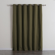 Best Home Fashion Wide Width Thermal Insulated Blackout Curtain - Antique Bronze Grommet Top - Olive - 200cm W x 210cm L -
