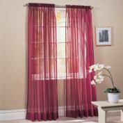 "DreamKingdom - 2 PCS Solid Sheer Window Curtains/Drape/Panels/Treatment Brand New 150cm Wx 84""L - Burgundy"