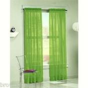 "DreamKingdom - 2 PCS Solid Sheer Window Curtains/Drape/Panels/Treatment Brand New 140cm Wx 84""L - Lime"