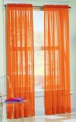 "DreamKingdom - 2 PCS Solid Sheer Window Curtains/Drape/Panels/Treatment Brand New 150cm Wx 84""L - Orange"