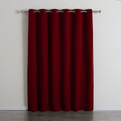Best Home Fashion Wide Width Thermal Insulated Blackout Curtain - Antique Bronze Grommet Top - Burgundy - 200cm W x 240cm L -