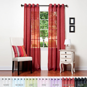 Best Home Fashion Crushed Voile Sheer Curtains - Antique Bronze Grommet Top - Burgundy - 130cm W x 210cm L -