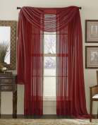 210cm Long Sheer Curtain Panel - Red