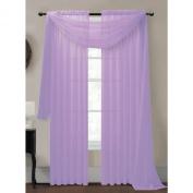 Window Elements Diamond Sheer Voile Curtain Scarf, 140cm x 550cm , Lilac