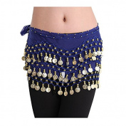 Viskey Fashion Chiffon Belly Dance Waist Chain with Golden Coins in 3-Layers,Royalblue
