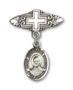 ReligiousObsession's Sterling Silver Baby Badge with St. Josemaria Escriva Charm and Badge Pin with Cross