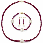 14k Yellow Gold 9-10mm White Freshwater Cultured, 4-5mm Red Ruby and Y.Gold Beads Jewellery Set