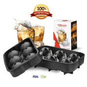 ChefLand Leak Proof 6 Ice Ball Mould Maker - Secure Closure Silicone Ice Tray - 4 Cm Diameter - Best Design for Luxury Cocktails and More - Black - Instructions Included