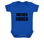 Funny MOTHER SUCKER Design Baby Bodysuit Royal Blue with Black Print