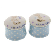 Baby Boy Bebunni Rabbit First Tooth and Curl Trinket Box Keepsake Set