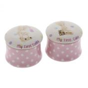 Baby Girl Bebunni Rabbit First Tooth and Curl Trinket Box Keepsake Set