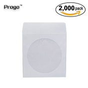 Progo 2,000 Pieces White Paper CD DVD Sleeves Envelope Holder with Clear Window and Flap, 80g Economy Weight.