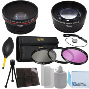 Vivitar 72mm 0.43x Wide Angle Lens + 2.2x Telephoto Lens + 3 Pieces Filter Set with Deluxe Lens Accessories Kit for Panasonic AG-AC130 AVCCAM HD AG-AC160A, AG-HMC150 and More Models + eCost Microfiber Cleaning Cloth