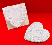 School Smart Heart Shaped Paper Lace Doilies - 10cm - Pack of 100 - White