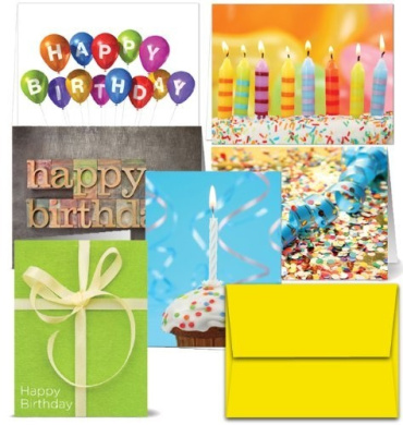 It's Your Birthday - Blank Cards - 36 Birthday Cards for $9.99 in 6 Different Designs, Yellow Envelopes Included.