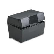 Oxford 01351 Plastic Index Card Flip Top File Box Holds 300 3 x 5 Cards, Matte Black