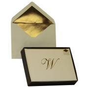 Designer Greetings Monogram Boxed Note Cards - Letter W
