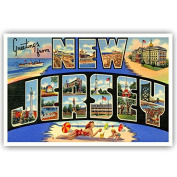 GREETINGS FROM NEW JERSEY vintage reprint postcard set of 20 identical postcards. Large letter US state name post card pack (ca. 1930's-1940's). Made in USA.
