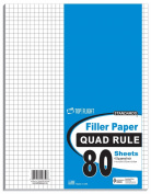 Top Flight Filler Paper, Quadrille Rule, 28cm x 22cm , 80 Sheets