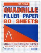 Top Flight Filler Paper, Quadrille Rule, 27cm x 20cm , 80 Sheets
