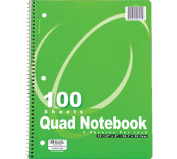 Bazic Quad-Ruled Spiral Notebook, (4 Squares per Inch), 100 Sheets