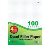 6 Pk, Bazic 10cm - 2.5cm Quad Ruled Filler Paper 100 Ct. Per Set