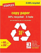 Staples 3-Hole Punch 30% Recycled Copy Fax Laser Inkjet Printer Paper, 22cm x 28cm Letter Size, Punched, 9.1kg., 92 Bright White, Acid Free, Ream, 500 Total Sheets