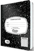 iScholar Composition Book, 100 Sheets, 5 x 5 Graph Ruled, 25cm x 19cm , Black Marble Cover