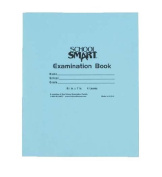 School Smart Ruled Examination Blue Books with Margin - 18cm x 22cm - Pack of 100, 8 Page Books