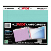 Roaring Spring WIDE Landscape Pad, 28cm x 24cm , 40 Lined sheets, 3/pack, Assorted