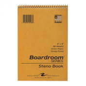 Roaring Spring Steno Notebook with Green Paper, 15cm x 23cm , 60 Sheets, Gregg Ruled, Brown Kraft Covers