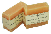 Twin Pack - Handmade Natural Lemongrass & Coconut Soap Bar -Rosacea / Thread and Spider Veins Calming, Acne - 75g
